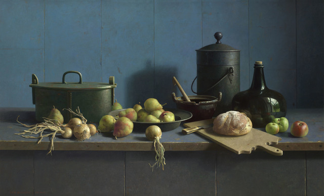 , 'Still Life with fruit and bread on a blue background ,' 2013, Artvera's Art Gallery