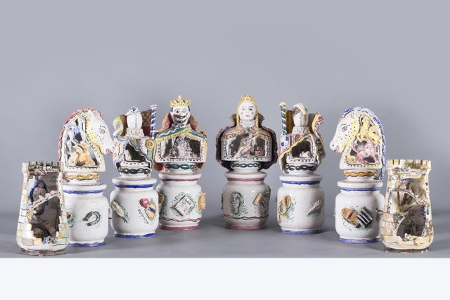 Andrea Parini, 'La Scacchiera Freudiana, Ceramics', 1950, Sculpture, King, Queen, two Fanti, two Horses and two Towers in handmade polychrome ceramic., Finarte