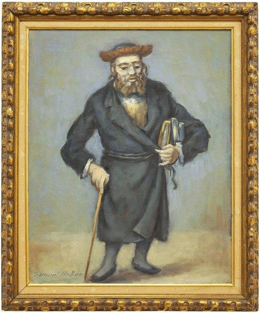 Samuel Halpert, 'Rare Judaica Rabbi Oil Painting (JEWISH MAN HOLDING A CANE AND BOOKS)', 20th Century, Lions Gallery