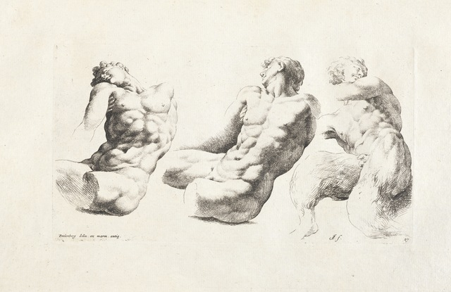 Cornelis van Poelenburgh, '[Two views of a torso of a male youth and a young satyr]', 1731-1741, Getty Research Institute