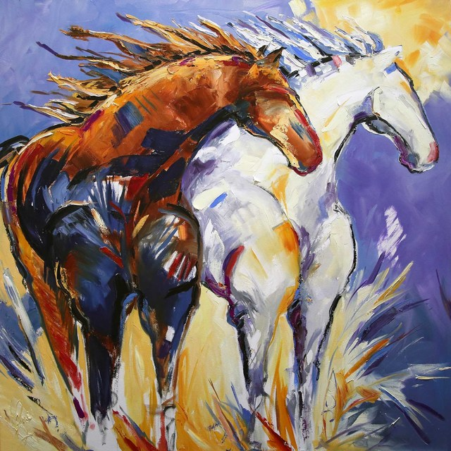 Laurie Pace Original Horse Painting Cliffhangers Colorful Equine Art Modern Western Art 2017 Artsy