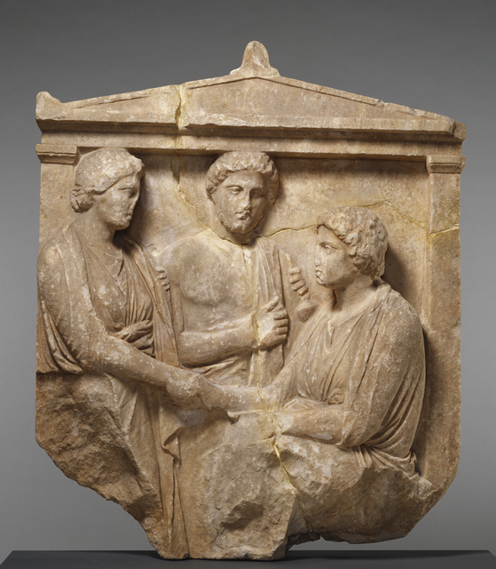 'Grave Naiskos of Theogenis with her Mother, Nikomache, and her Brother Nikodemos', ca. 360 BCE, J. Paul Getty Museum