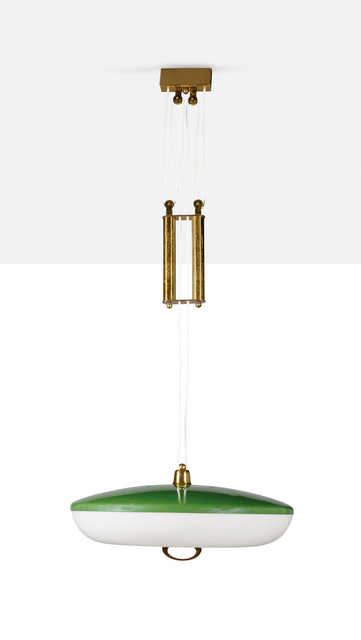 'Ceiling light', Circa 1955, Design/Decorative Art, Metal, brass, plexiglass, Aguttes