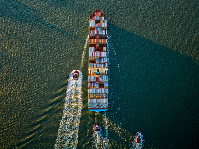 Jeffrey Milstein, 'Container Ship and Tugs 2', 2017, Benrubi Gallery