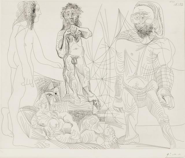 Pablo Picasso, 'Vieux modèle-jeune odalisque, femme androgyne, berger arcadien et pêcheur à la Boina pendante, second state of two, 1970, plate 8 from Séries 156', 1978, Skinner