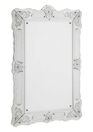 A mirror with a wooden structure and a frame in sandblasted and silver-coated crystal