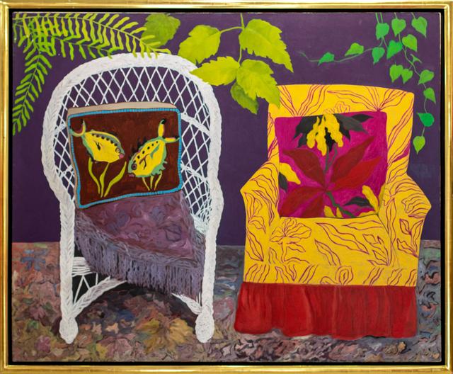 Hunt Slonem, 'Chair Duet', 1977, Painting, Oil on canvas, Manolis Projects