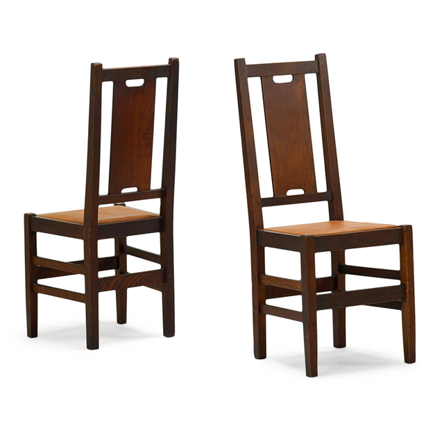 Gustav Stickley, 'Two H-Back Side Chairs, Eastwood, NY', ca. 1910, Rago/Wright