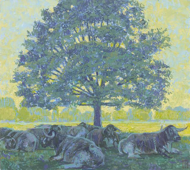 , 'Longhorn Cattle in the Shade, Rousham,' 2017, John Martin Gallery