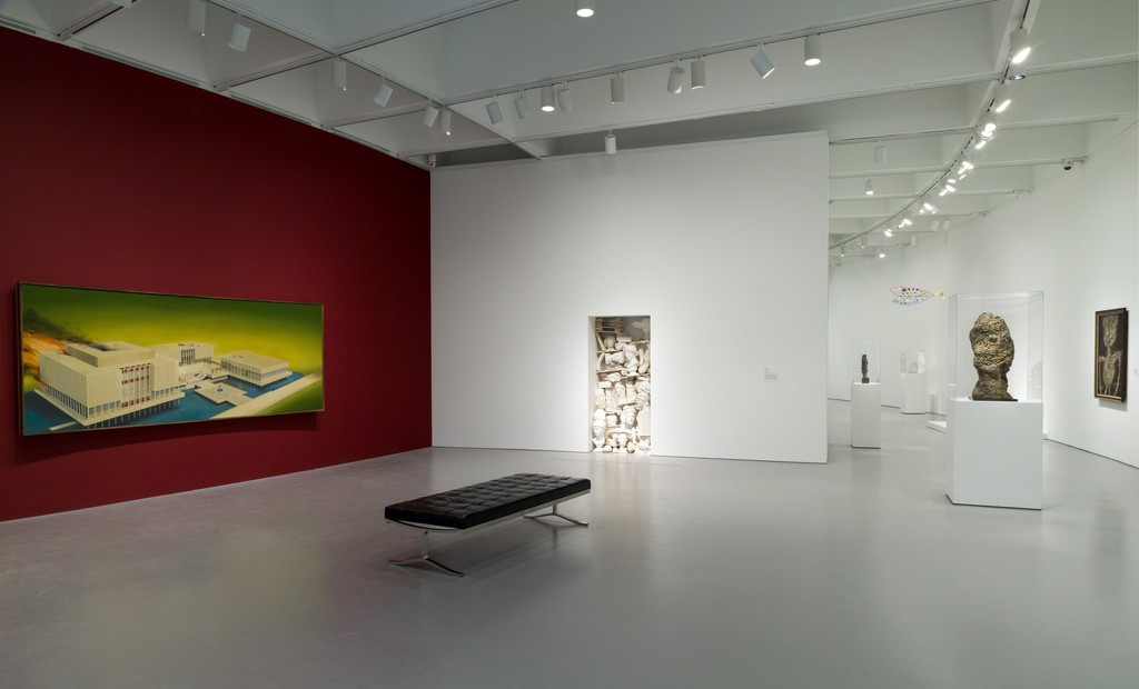 "Installation view of Masterworks from the Hirshhorn Collection at the Hirshhorn Museum and Sculpture Garden, 2016. Left to right: Ed Ruscha, The Los Angeles County Museum on Fire, 1965-68; Jannis Kounellis, Untitled, 1980; Jean Dubuffet, The Mournful One, 1959; Alexander Calder, Fish, 1944; George Rickey, Maquette for ""Space Churn,"" by 1964; Jean Dubuffet, Oberon, 1960; Jean Dubuffet, Limbour as a Crustacean, 1946.  Photo: Cathy Carver"
