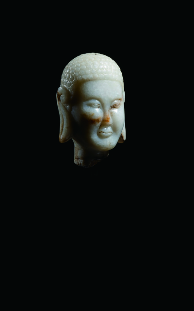 Unknown Artist, 'A Pale Grey Jade Head of Buddha 遼 灰玉佛首像', China: Liao Dynasty (907-1125), Rasti Chinese Art
