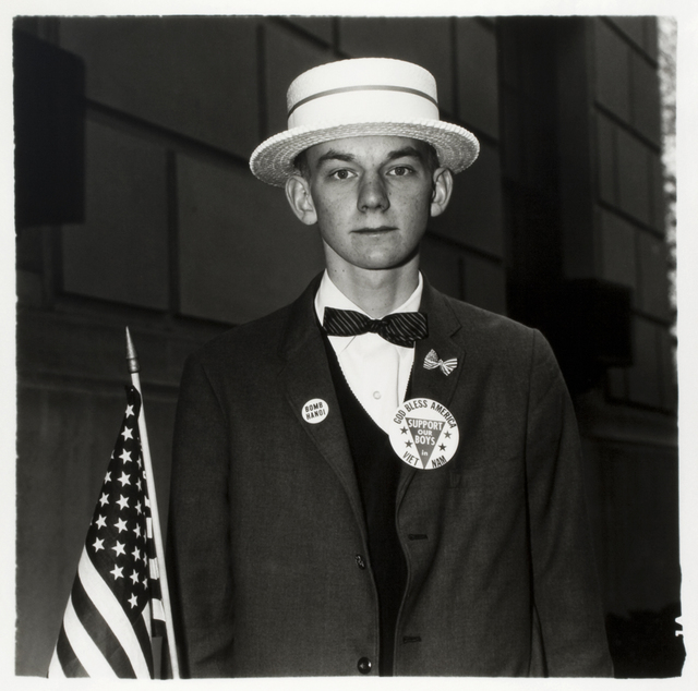 , 'Boy with Straw Hat Waiting to March in a Pro War Parade, New York,' 1967, Steven Kasher Gallery