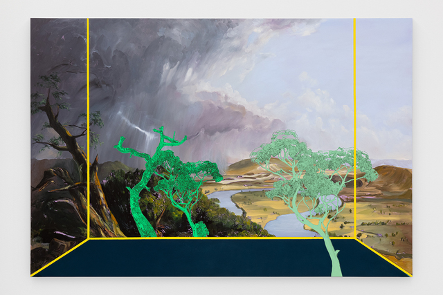 Whitney Bedford, 'Veduta (Cole)', 2020, Painting, Ink and oil on linen hybrid panel, Carrie Secrist Gallery