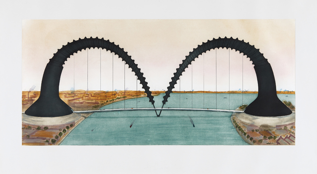 Claes Oldenburg, 'Screwarch Bridge (state III)', 1981, Print, Aquatint, etching and monoprint in colors, on Arches paper, with full margins, Phillips