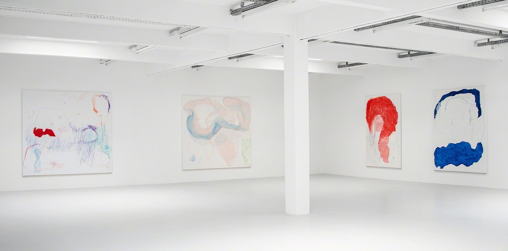 Gonn Mosny, exhibition view, 2017. From left: Gonn Mosny, 2017, LW 236 200 cm x 215 cm / 2017, LW 235, 200 cm x 215 cm / 2016, LW 211 200 cm x 130 cm / 2016, LW 214 200 cm x 150 cm, courtesy by the artist and Volker Diehl Gallery. Photo: Verena Nagl