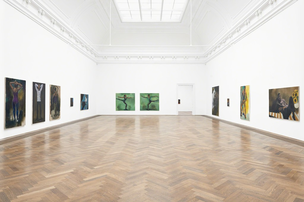 "Lynette Yiadom-Boakye, Installation view ""A Passion To A Principle,"" Kunsthalle Basel, 2016. Photo: Philipp Hänger"