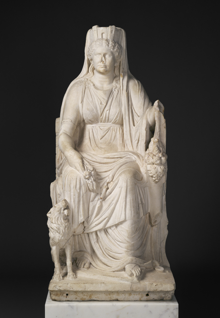 'Statue of a Seated Cybele with the Portrait Head of her Priestess',  about 50, J. Paul Getty Museum