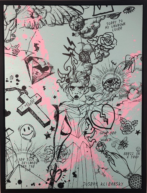 , 'Villains in My Head (small turquoise, pink splash, black),' 2019, House of Fine Art - HOFA Gallery