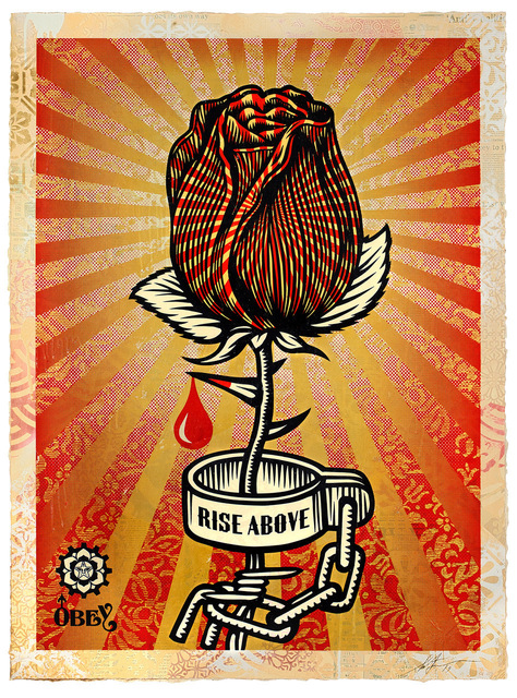 Shepard Fairey, 'Rose Shackle', 2019, PAINT (RED) Benefit Auctions