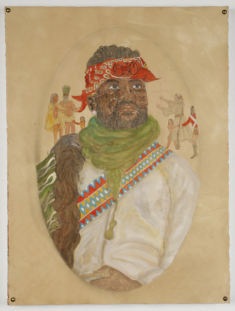 Umar Rashid (Frohawk Two Feathers), 'Look. A colonial Chimera you made me. Hernando, ran away from his Tataviam family to serve Odiseo and his Religious fanaticism.', 2016, Johannes Vogt Gallery