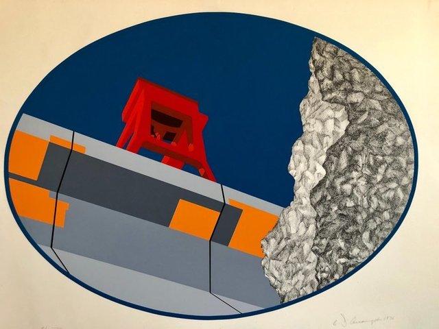 Allan D'Arcangelo, 'Pop Art Abstract American Hard Edged Landscape with Bridge', 1970-1979, Lions Gallery