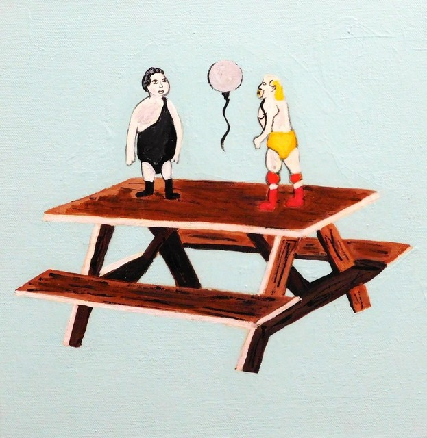 , 'Wrestling Picnic Table,' 2017, HUE Gallery of Contemporary Art