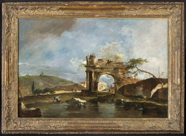 , 'Capriccio with a classical ruined arch, river bank with fishermen, a temple beyond (a pair (2)),' , DICKINSON