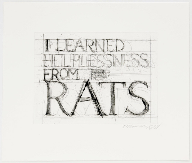 , 'I Learned Helplessness From Rats,' 1988, Brooke Alexander, Inc.