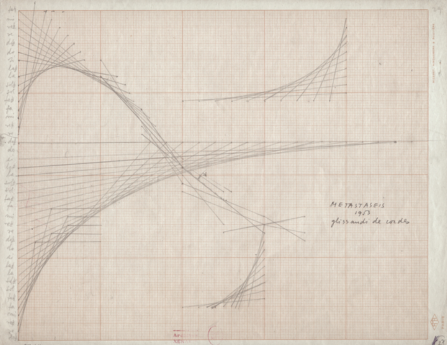 , 'Graphic score for Metastasis, Glissandi of Chords ,' 1954, Berkeley Art Museum and Pacific Film Archive