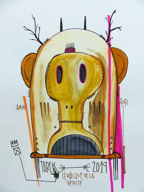 TAREK, 'le masque de la vérité', 2019, Drawing, Collage or other Work on Paper, Tea, watercolor, color ink and posca on paper, Galerie Carole Kvasnevski