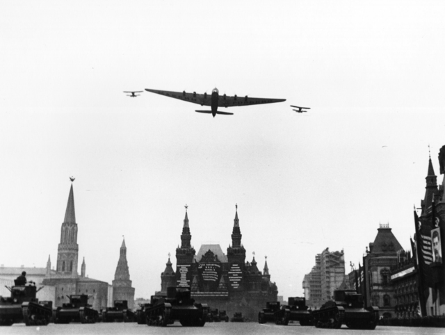 ", 'Airplane, ""Maksim Gorky,"" over Red Square, Moscow,' 1934, Etherton Gallery"