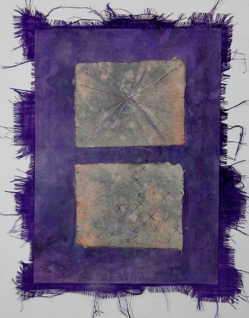 Grace Bakst Wapner, 'Purple with X Squares', 2019, Textile Arts, Mixed Media, Carter Burden Gallery