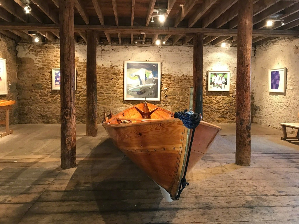 Julian Bailey's joyous paintings with an Oselvar Færing double-ended Norwegian boat made as an apprentice piece some 35 years ago by Petter Southall.