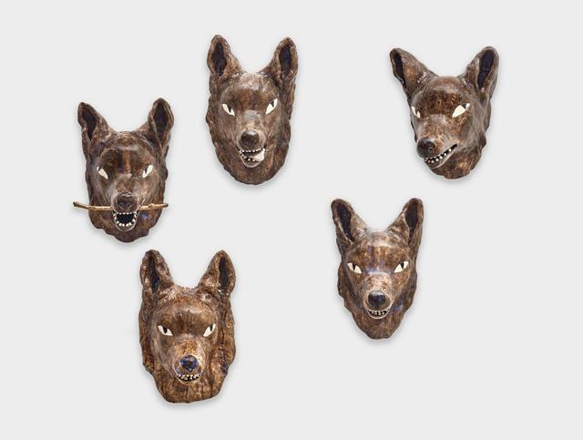 Clémentine de Chabaneix, 'Five-wolf pack', 2020, Sculpture, Glazed Ceramic, Antonine Catzéflis