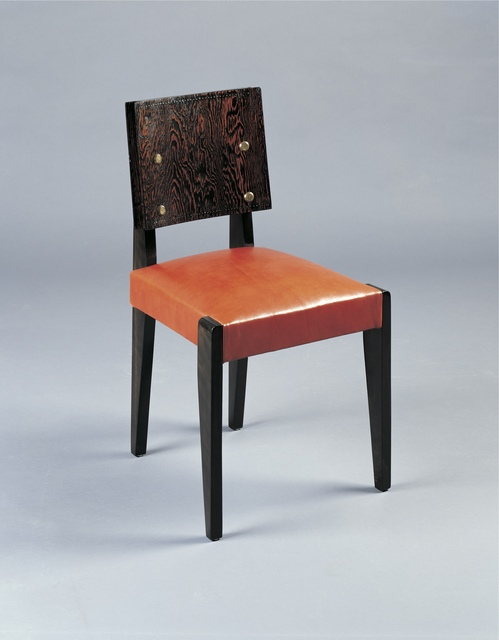 André Sornay, 'Six dining chairs', ca. 1935, Design/Decorative Art, Oregon pine with brass nails and solid mahogany. « Paprika » coloured leather seat, Galerie Alain Marcelpoil