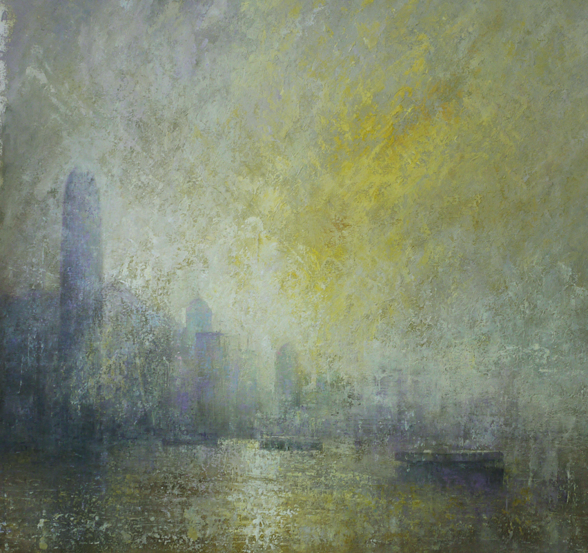 Benjamin Warner, Early Morning, Hong Kong Harbour, oil on canvas, 100 x 100 cm