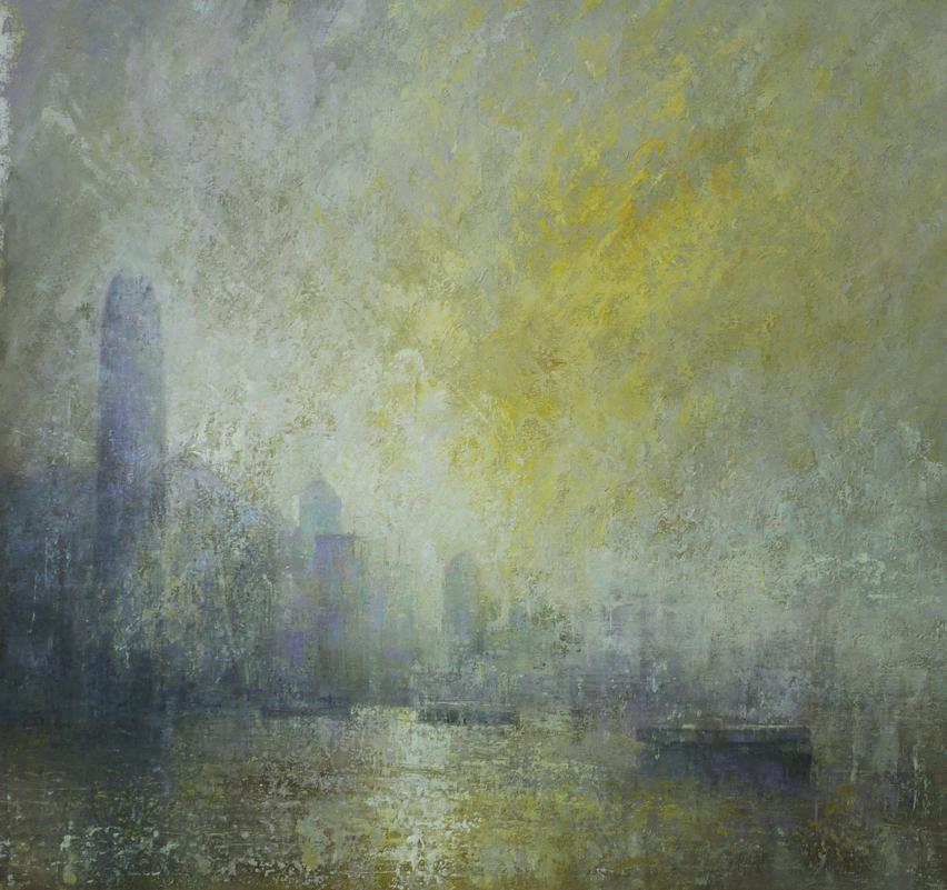 Benjamin Warner, Early Morning, Hong Kong Harbour, oil on canvas, 100 x 100 cm