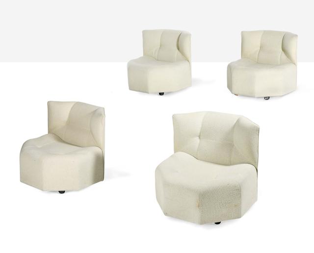 Bernard Govin, 'Rare set of 4 octa low chairs', circa 1970, Design/Decorative Art, Wood fabric, steel, Aguttes
