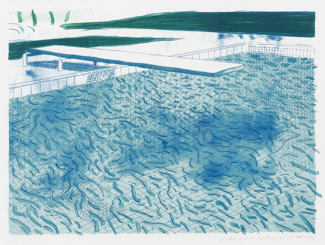 , 'Lithograph of Water Made of Lines with Two Light Blue Washes,' 1978-1980, Susan Sheehan Gallery