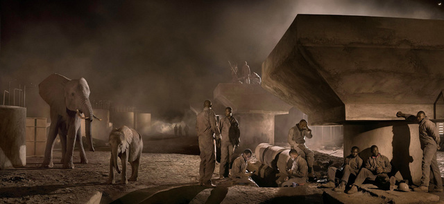 , 'Bridge Construction with Elephants & Workers at Night,' 2015, Holden Luntz Gallery