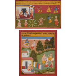 Two: an illustration from the Bhagavata Purana series, the naming of Krishna; an illustration from a Bihari Satsai series