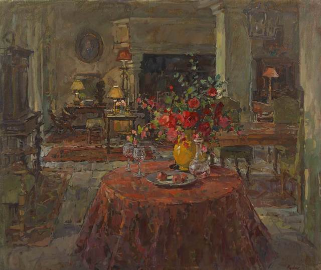 , 'Grand Salon with Red Roses,' 2016, Mall Galleries