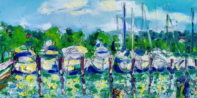 , 'Water paintings summer 2019 - plein air in situ paintings - Marina Portorose, white clouds...,' 2019, Noravision Gallery
