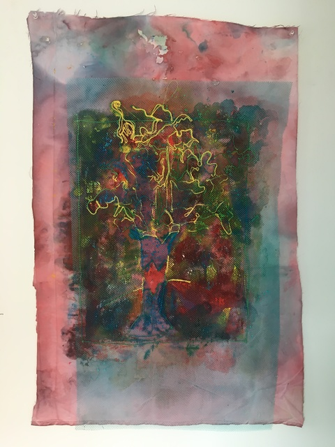 Joel Handorff, 'Painting of flowers on fabric with sewn flower overlay on tulle: 'Blue Mist'', 2018, Ivy Brown Gallery