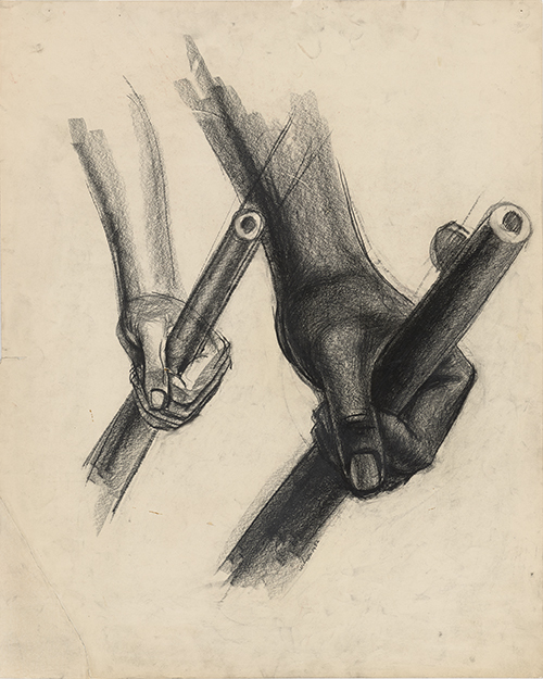 John Wilson, Study for The Incident, 1952. Charcoal and crayon. Faulconer Gallery, Grinnell College Art Collection, Iowa, Estate of Clinton A. Rehling, class of 1939, by exchange. © Estate of John Wilson. Courtesy Faulconer Gallery, Grinnell College Art Collection