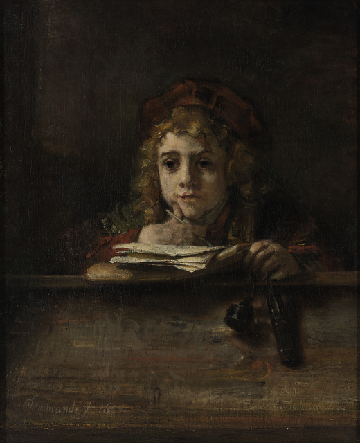 Rembrandt van Rijn, 'Titus at his Desk', 1655, Painting, Oil on canvas, The National Gallery, London