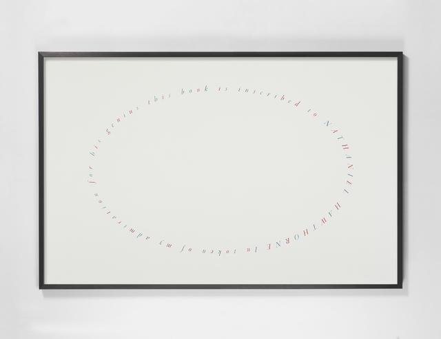 , 'Dedicatoria (Herman Melville, Moby Dick) / Dedication (Moby Dick, Herman Melville),' 2019, Galería OMR