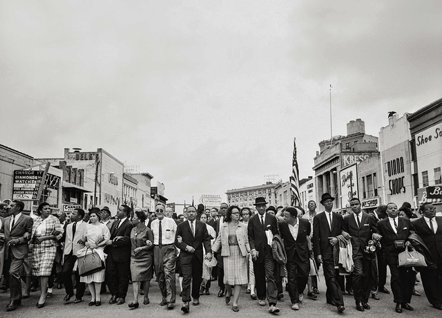 , 'Dr. Martin Luther King Jr., his wife, Coretta, Rosa Parks, and other activists march for voting rights,' 1965, Fahey/Klein Gallery