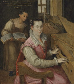 Studio of Lavinia Fontana, 'Self-portrait at the keyboard with a maidservant', Painting, Oil on metal, Christie's Old Masters