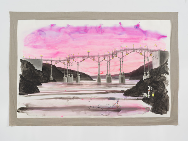 Charles Avery, 'Untitled (Boys fishing beneath bridge with pink sky)', 2021, Drawing, Collage or other Work on Paper, Pencil, acrylic and ink on paper mounted on linen, GRIMM